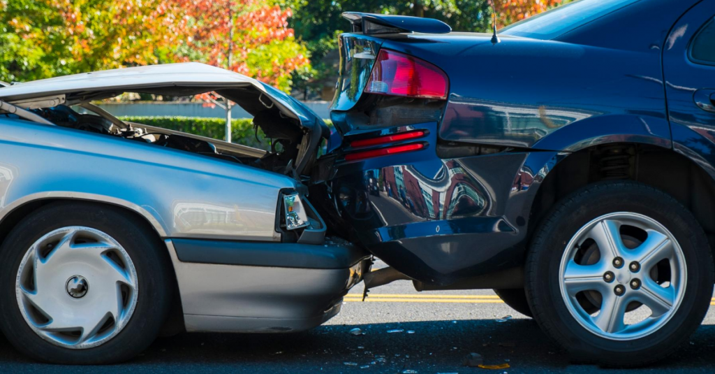 Two damaged cars that may be written off